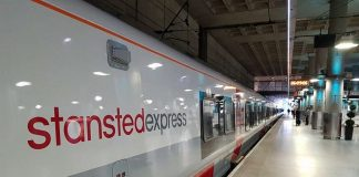 Stansted Express train at London Liverpool Street