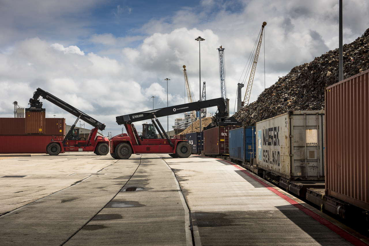 Intermodal train being loaded at the docks