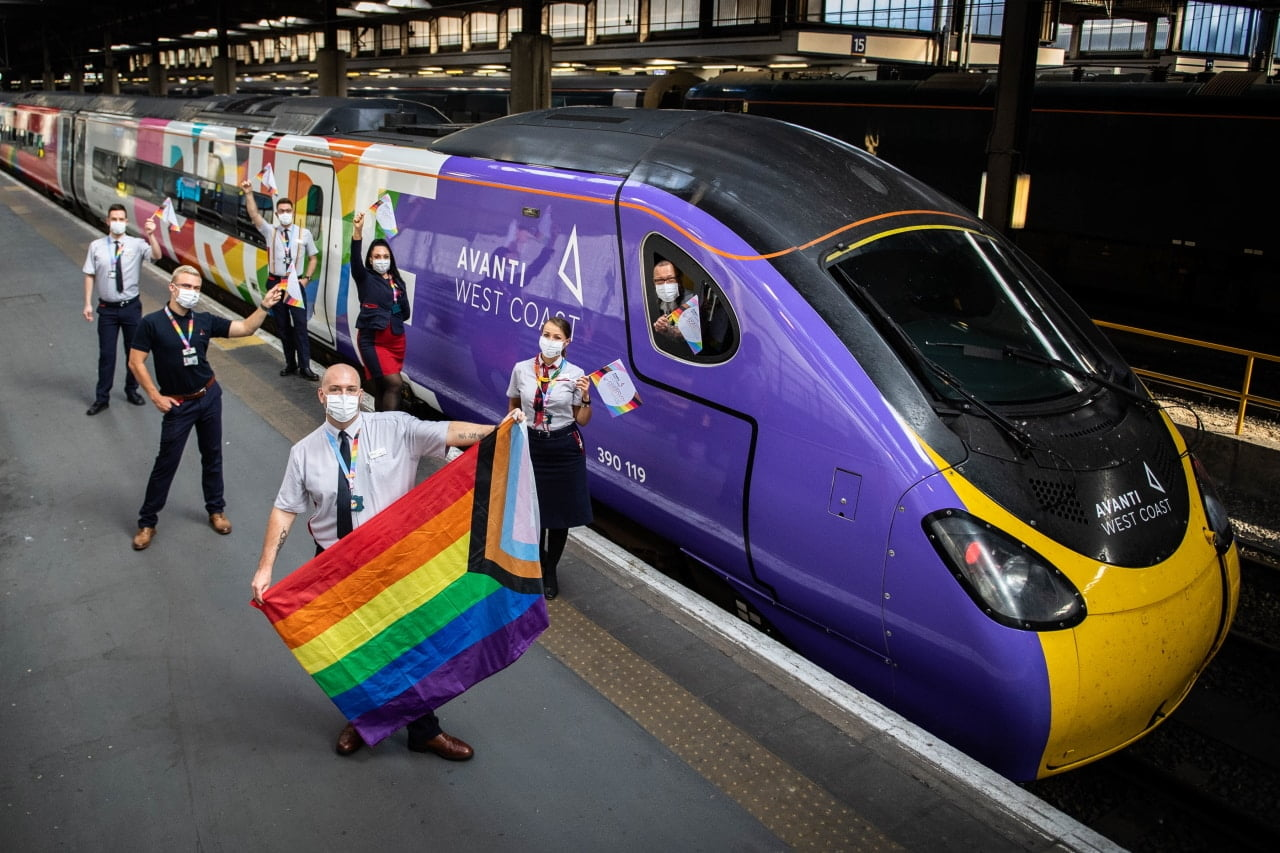 Avanti West Coast launches the UK's first fully wrapped Pride train staffed by all LGBTQ+ crew. Billed as the biggest Pride flag the UK has seen on the side of a train, the 11-carriage, 265 metre-long train will be waved off by Avanti West Coast staff and members of the LGBTQ+ community at Euston and will be welcomed in at Manchester Piccadilly station on Tuesday 25 August.