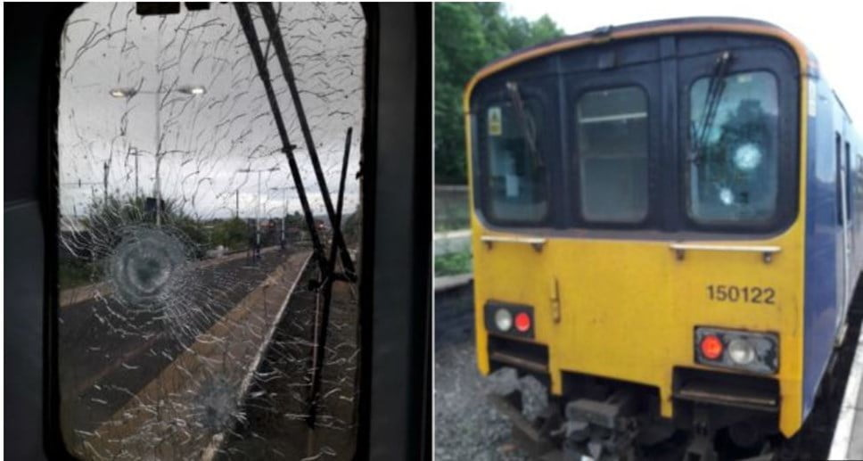 Train hit by stone