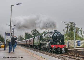 46115 Scots Guardsman takes 'The Dalesman' through Long Preston