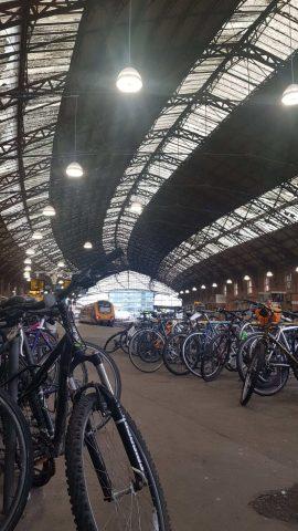 The bike racks on the platform at Bristol Temple Meads