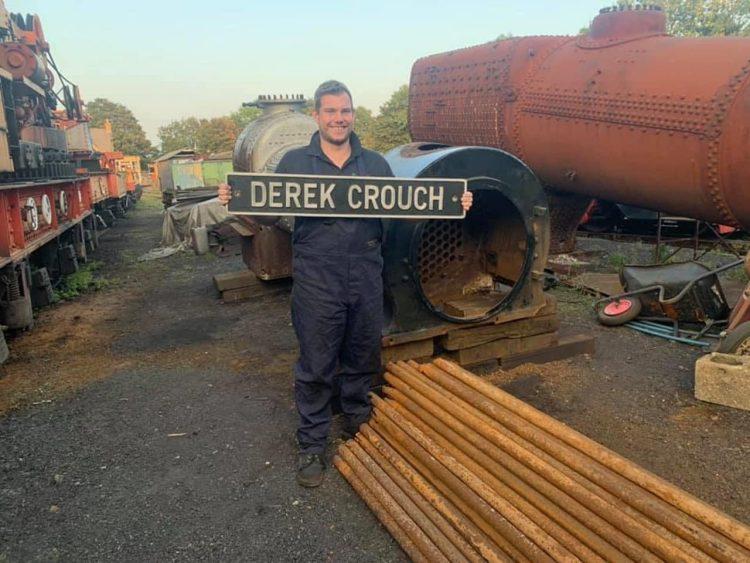 Nathan Wilson with Derek Crouch nameplate