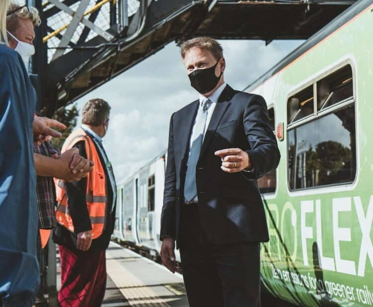 Grant Shapps at the trials of the first hydrogen train in Britain