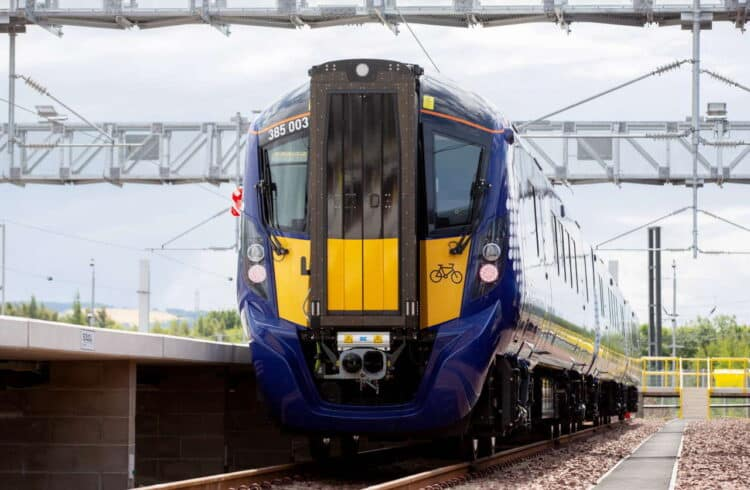 The new Class 385 trains at the Millerhill depot