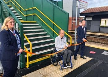 Alison Thompson, Simon Green and James Price at the opening of Cadoxton's new lifts