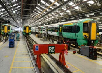 Class 377 trains at Selhurst Depot
