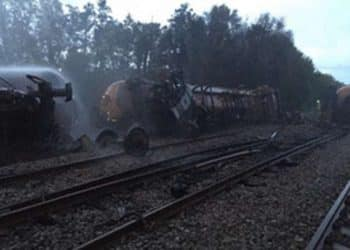 Derailed tank wagons at Llangennech
