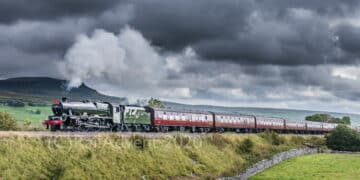 Steam Locomotive 45562 Alberta passes Selside with The Waverley