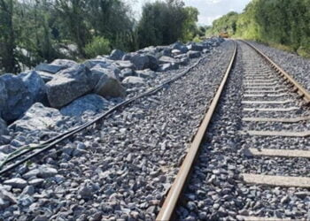 Rock armour on the Conwy Valley Line prevented the line getting damaged during Storm Francis