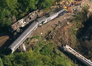 Stonehaven train crash from the air