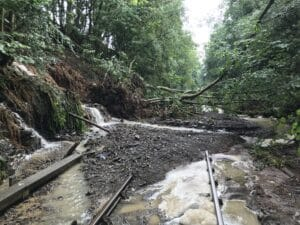 The Heart of Wales line is closed after heavy rainfall