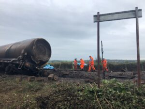 The recovery after the freight derailment in Llangennech continues