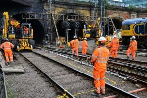Work on the track and tunnels at King's Cross