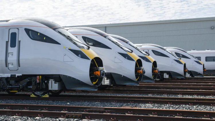 Hitachi Intercity trains at Newton Aycliffe
