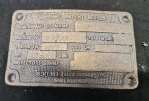 Boiler ID plate for Sentinel Ann