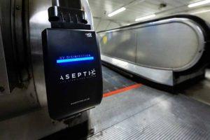 Sanitiser on Underground escalator