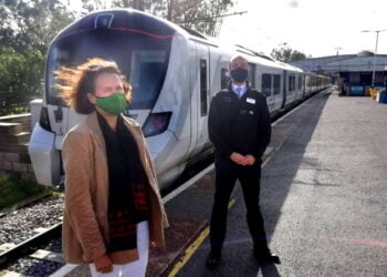 Class 717 reduced emissions, Catherine West MP came to see for herself with and Great Northern MD Tom Moran