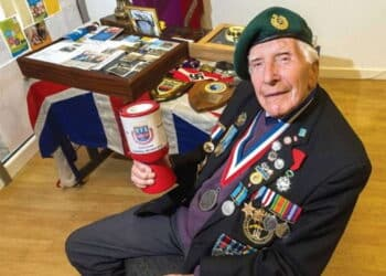 Harry collecting for the Normandy Veterans' Association in 2016.