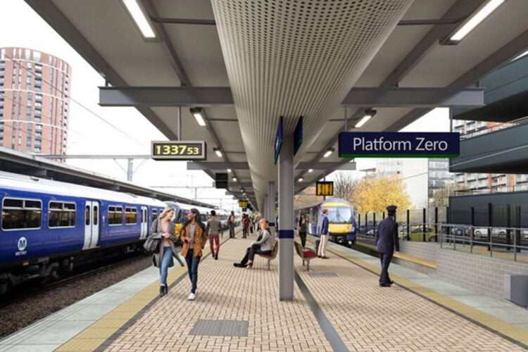 Image of expected look of Platform 0 at Leeds station