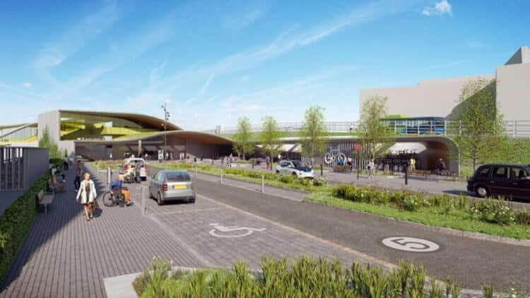 Indicative visualisation of Cambridge South railway station from the east