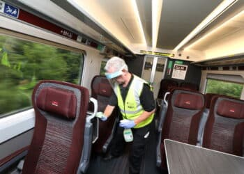 Cleaners making LNER Azumas safe for passengers
