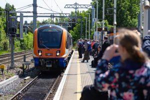 The first Class 710 in passenger service arrives at Gospel Oak