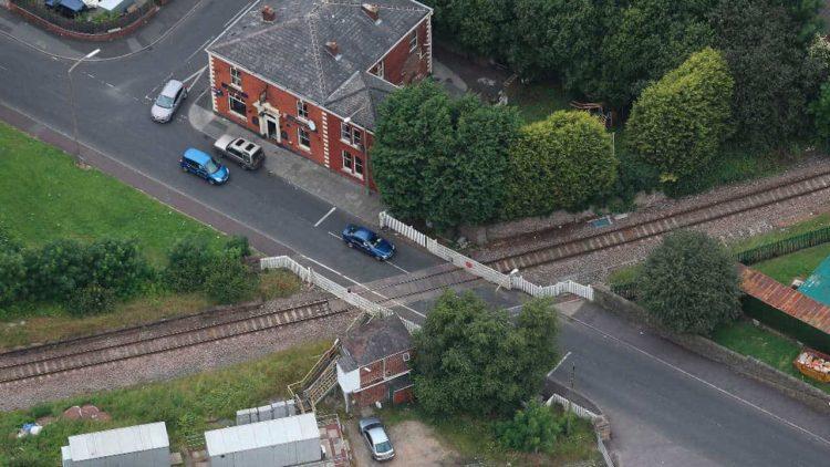 Blackburn Daisyfield Level Crossing aerial wide