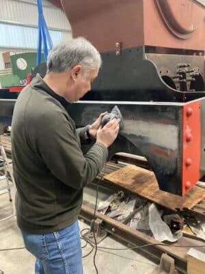 G5 locomotive being sanded down