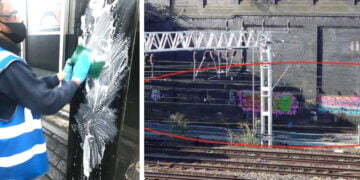 Graffiti cleanup at London Euston composite