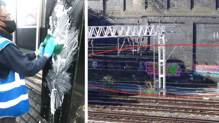 Graffiti cleanup at London Euston composite
