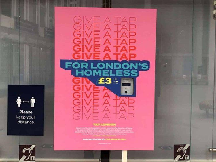 London Bridge contactless donation point
