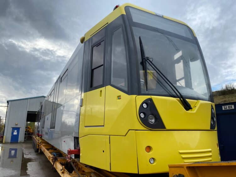 New tram arrives for the Manchester Metrolink