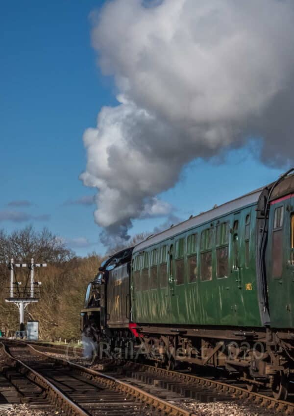 847 departs Sheffield Park on the Bluebell Railway