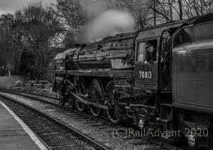 70013 Oliver Cromwell at Oxenhope on the Keighley and Worth Valley Railway