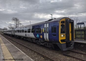 Northern Class 158 calls at Giggleswick