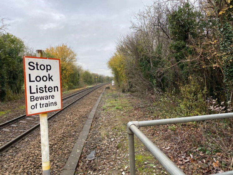 Princes Risborough railway level crossing near miss with Jogger