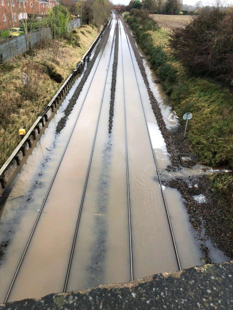 Midland Mainline Railway flooding in Draycott 2019