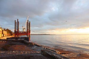 Wavewalker in action building the new sea wall at Dawlish
