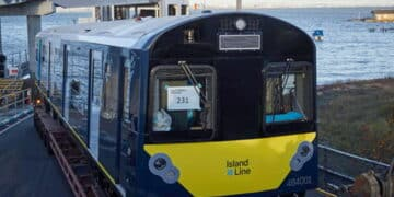 Island Line Class 484001 arrives on the Isle of Wight