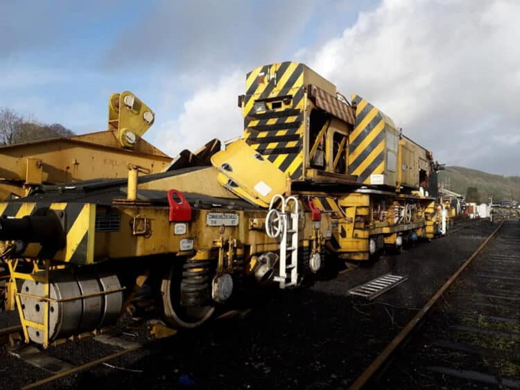 Ex-BR breakdown crane arrives at the Gwili Steam Railway