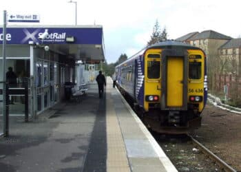 ScotRail Class 156 156436 at East Kilbride after arriving with a service from Glasgow Central