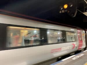 CrossCountry train leaves Birmingham New Street