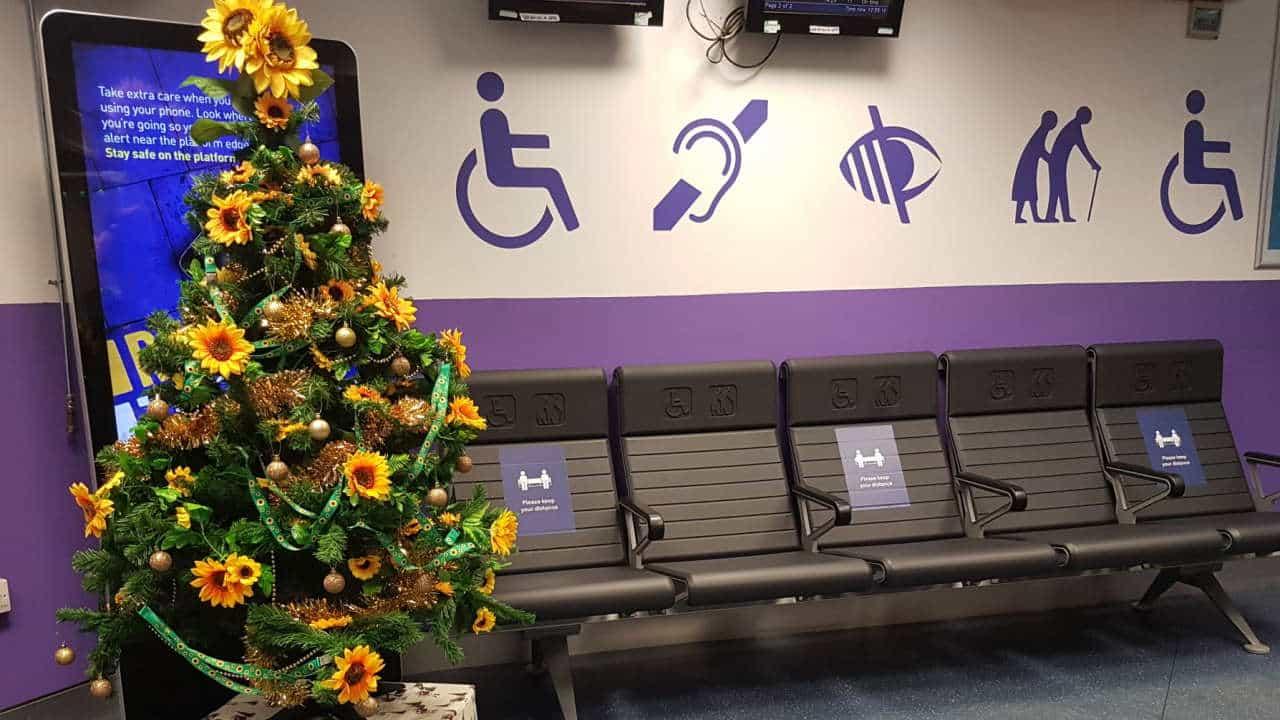 Sunflower Christmas Tree On Display At London Euston Railway Station