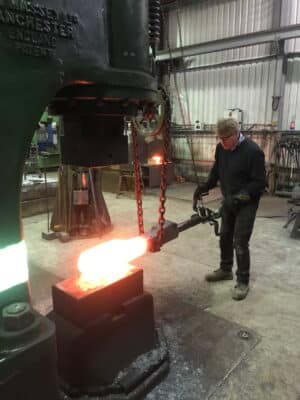 Forging an inside connecting rod strap at Stephenson (Engineering) Ltd