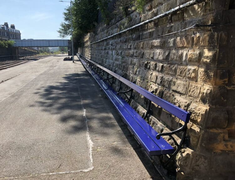 Grade II listed bench at Scarborough station