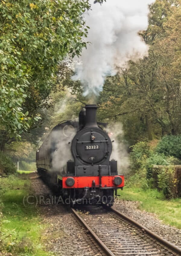 52322 arrives at the Summerseat on the East Lancashire Railway