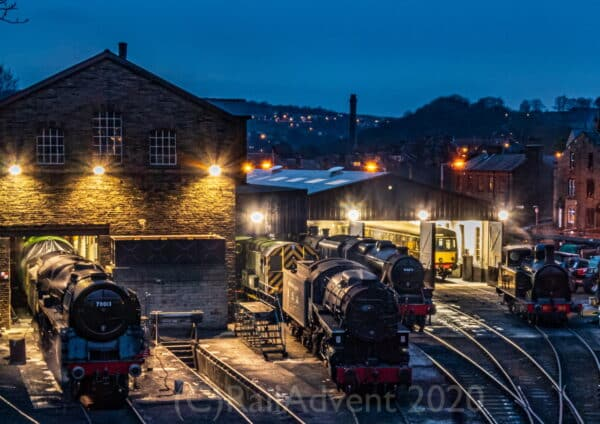 70013 Oliver Cromwell, 5820, 44871 and 85 at Haworth on the Keighley and Worth Valley Railway