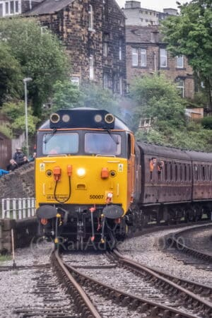 BR Class 50 No. 50007 arrives into Keighley on the Keighley and Worth Valley Railway