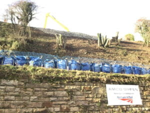 Work taking place to railway embankment in Whitby
